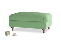 Rectangle Jammy Dodger Footstool in Clean green Brushed Cotton