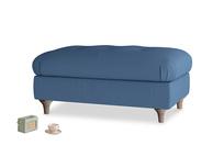 Rectangle Jammy Dodger Footstool in True blue Clever Linen