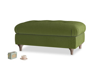 Rectangle Jammy Dodger Footstool in Good green Clever Deep Velvet