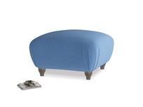 Small Square Homebody Footstool in English blue Brushed Cotton