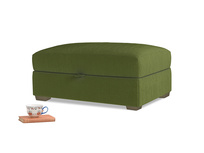 Bumper Storage Footstool in Good green Clever Deep Velvet