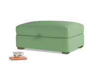 Bumper Storage Footstool in Clean green Brushed Cotton