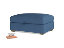 Bumper Storage Footstool in True blue Clever Linen