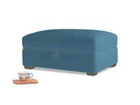 Bumper Storage Footstool in Old blue Clever Deep Velvet