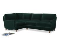 Large Left Hand Jonesy Corner Sofa in Dark green Clever Velvet