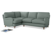 Large Left Hand Jonesy Corner Sofa in Sea fog Clever Woolly Fabric