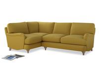 Large Left Hand Jonesy Corner Sofa in Maize yellow Brushed Cotton