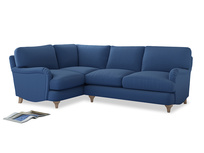 Large Left Hand Jonesy Corner Sofa in English blue Brushed Cotton