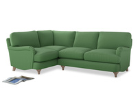 Large Left Hand Jonesy Corner Sofa in Clean green Brushed Cotton