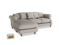 Large left hand Sloucher Chaise Sofa in Sailcloth grey Clever Woolly Fabric