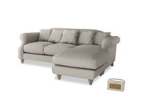 Large right hand Sloucher Chaise Sofa in Sailcloth grey Clever Woolly Fabric