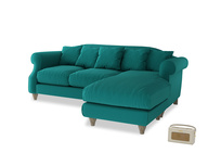 Large right hand Sloucher Chaise Sofa in Indian green Brushed Cotton