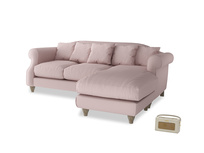 Large right hand Sloucher Chaise Sofa in Potter's pink Clever Linen