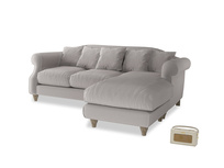 Large right hand Sloucher Chaise Sofa in Mouse grey Clever Deep Velvet