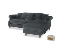 Large right hand Sloucher Chaise Sofa in Dark grey Clever Deep Velvet