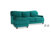 Large left hand Pavlova Chaise Sofa in Indian green Brushed Cotton