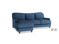 Large left hand Pavlova Chaise Sofa in True blue Clever Linen