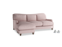 Large left hand Pavlova Chaise Sofa in Potter's pink Clever Linen