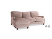 Large left hand Pavlova Chaise Sofa in Rose quartz Clever Deep Velvet