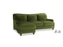 Large left hand Pavlova Chaise Sofa in Good green Clever Deep Velvet