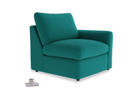 Chatnap Storage Single Seat in Indian green Brushed Cotton with a right arm