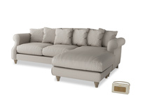 XL Right Hand  Sloucher Chaise Sofa in Sailcloth grey Clever Woolly Fabric