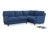 Large Right Hand Jonesy Corner Sofa in English blue Brushed Cotton