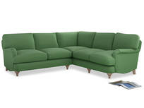 Even Sided Jonesy Corner Sofa in Clean green Brushed Cotton