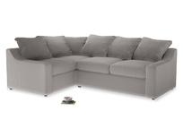 Large Left Hand Cloud Corner Sofa in Mouse grey Clever Deep Velvet
