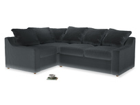 Large Left Hand Cloud Corner Sofa in Dark grey Clever Deep Velvet
