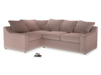 Large Left Hand Cloud Corner Sofa in Rose quartz Clever Deep Velvet