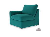 Chatnap Storage Single Seat in Indian green Brushed Cotton with a left arm