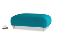 Soufflé Footstool in Pacific Clever Velvet