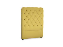 Single Tall Billow Headboard in Maize yellow Brushed Cotton