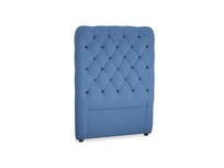 Single Tall Billow Headboard in English blue Brushed Cotton