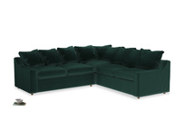 Even Sided Cloud Corner Sofa in Dark green Clever Velvet