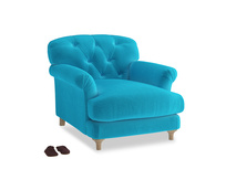 Truffle Armchair in Azure plush velvet