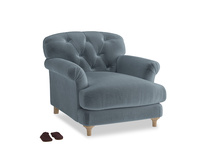 Truffle Armchair in Mermaid plush velvet