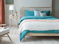 Spindle wooden slatted bed frame