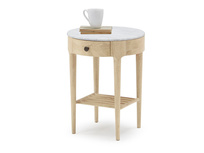 Mini Marmo marble and oak wood side table