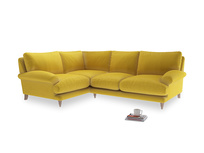 Large Left Hand Slowcoach Corner Sofa in Bumblebee clever velvet