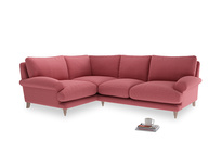 Large Left Hand Slowcoach Corner Sofa in Raspberry brushed cotton