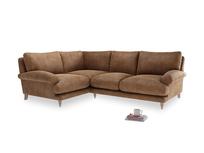 Large Left Hand Slowcoach Corner Sofa in Walnut beaten leather