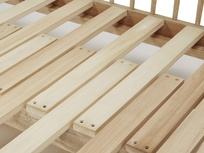 Kipster wooden sofa bed slat frame detail
