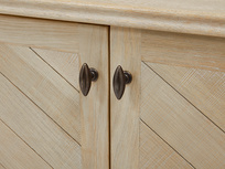 Grand Fandangle parquet wood style sideboard handle detail