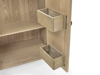Bootleg wooden drinks cabinet inside shelf detail