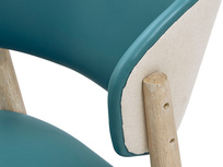 Popcorn leather dining chair in Teal side detail