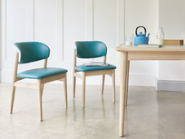 Popcorn retro dining chair in Teal leather