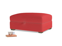 Rectangle Bumper Storage Footstool in True Red Plush Velvet
