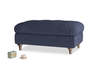 Rectangle Jammy Dodger Footstool in Seriously Blue Clever Softie